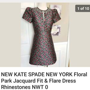 Kate Spade Floral Jacquard Fit Flare Dress 0 NEW